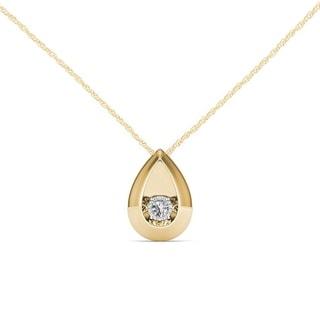 De Couer 10K Yellow Gold 1/20ct TDW Dancing Diamond Necklace