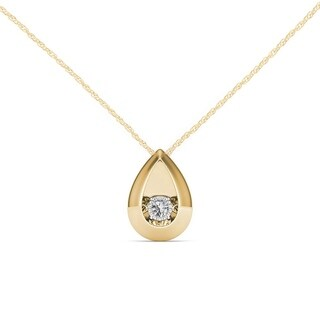 De Couer 10K Yellow Gold 1/20ct TDW Dancing Diamond Necklace