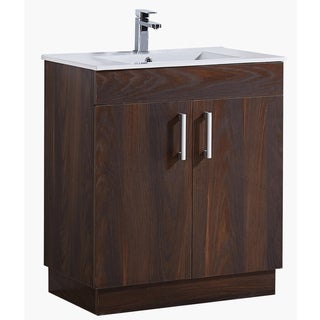 "29"" Bathroom Vanity with Ceramic Sink in Brown Elm Wood Texture Finish"