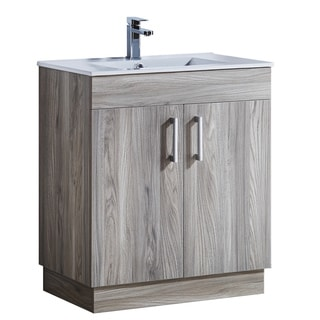 Grey Walnut Wood and White Ceramic Sink Top 29-inch Bathroom Vanity