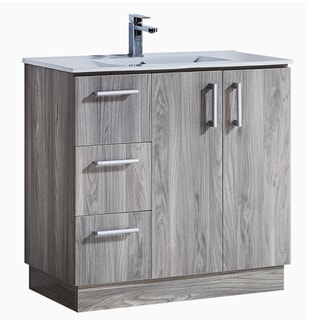 Modern Style 35-inch Grey Walnut Finish Single Sink Bathroom Vanity