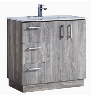 Grey Walnut Wood 35-inch Texture Finish Bathroom Vanity With Ceramic Sink