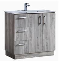 Modern Style 35-inch Grey Walnut Finish Single Sink Bathroom Vanity