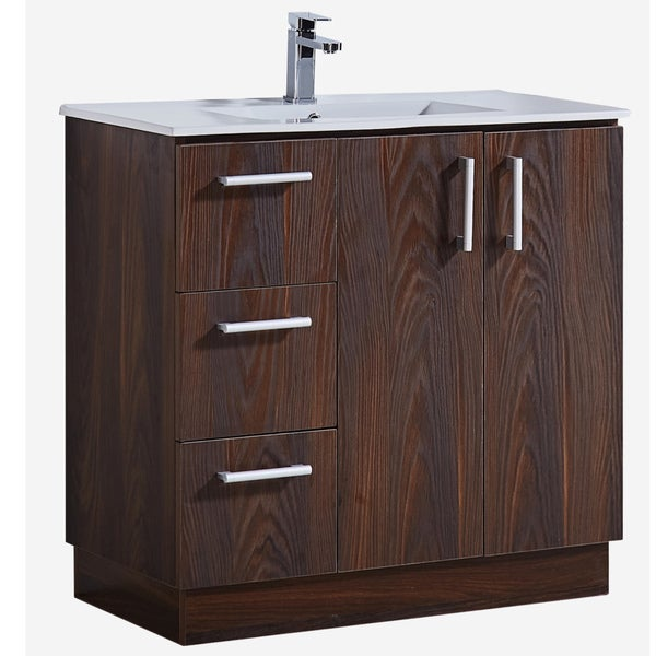 Modern Style 35-inch Brown Elm Wood Texture Finish Single Sink Bathroom Vanity