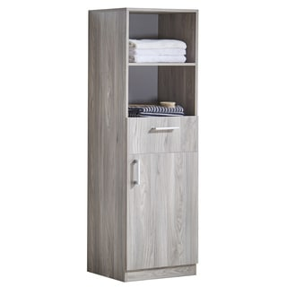 Infurniture Grey Walnut Wood Texture 71-inch Side Cabinet