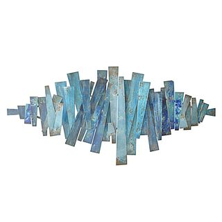 Three Hands Abstract Strips Blues Metal Wall Decor