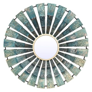 Three Hands Blue Metal Circular Fan Decorative Wall Mirror