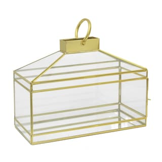 Three Hands Horizontal Gold Metal and Glass Terrarium