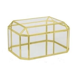 Three Hands 12394 Gold/ Metal/Glass Horizontal Box