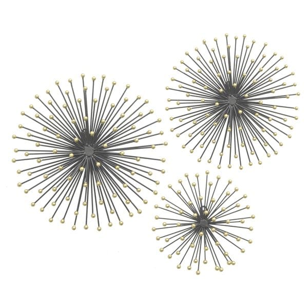 Black and Gold Three Hands 17564 Metal Starburst Wall Art (Set of 3)