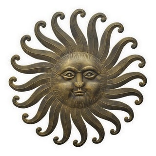 Three Hands Gold-tone Metal Sun Wall Sculpture