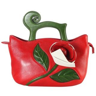 Pijushi Red Leather Handmade Flower Handbag