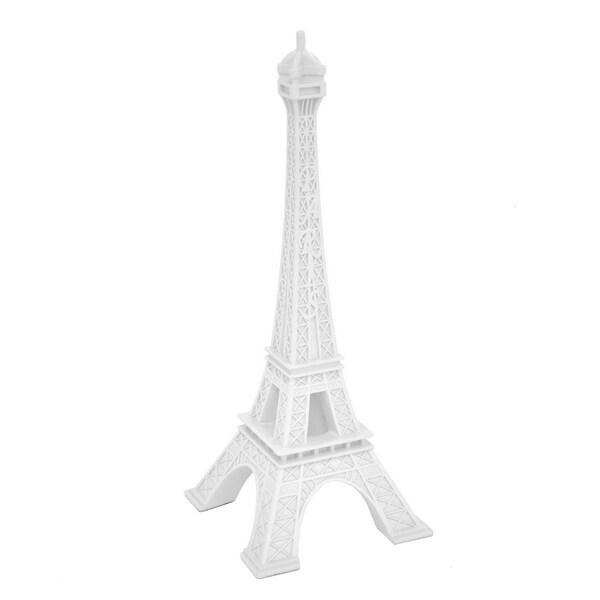 Three Hands Decorative White Resin Eiffel Tower