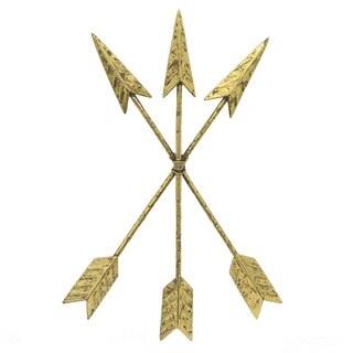 Three Hands Bound Arrows Goldtone Metal Wall Decor