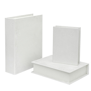 Three Hands 34384 White Wood Alligator-finish Book Boxes (Pack of 3)