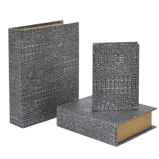 Three Hands Grey Wood Faux Alligator Book Boxes (Pack of 3)