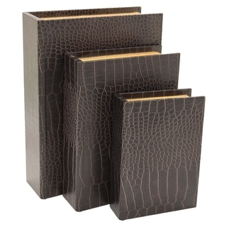 Three Hands 34386 Black Alligator Finish Wood Book Box (Set of 3)