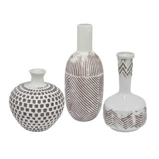 Three Hands Ceramic Tribal Geometry Embossed Vase (Set of 3)