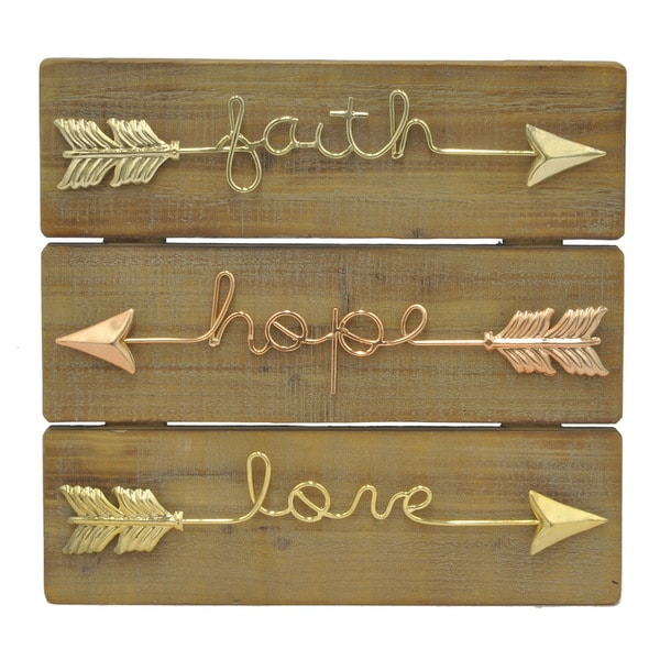 Gold Metal Wall Decor three hands inspirational arrows goldtone copper wood metal wall