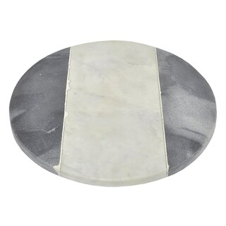 Three Hands Round Marble Cutting Board With Black And White Detailing