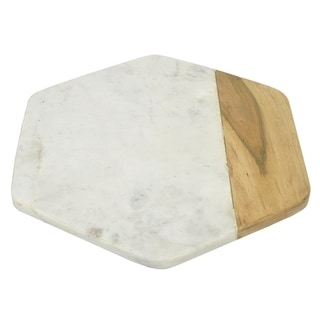 Three Hands Hexagon-shaped Marble Cutting Board with Wood Detailing