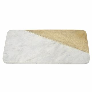 Three Hands Rectangle Marble Cutting Board with Wood Detailing
