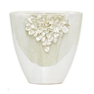 Three Hands White Porcelain/Ceramic Vase with Floral Detail