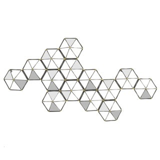 Three Hands Black Metal Handcrafted Hexagon Cluster Metal Wall Mirror with Mirror Accents