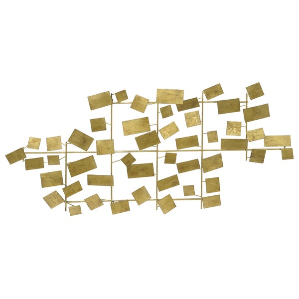 Three Hands Scattered Rectangle Goldtone Metal Wall Decoration