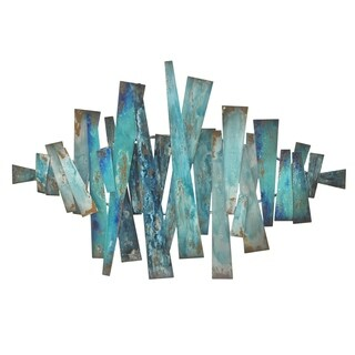 Three Hands Blue Abstract Metal Slats Wall Art
