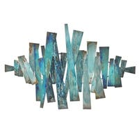 Three Hands Blue Abstract Metal Slats Wall Art - Metal Art