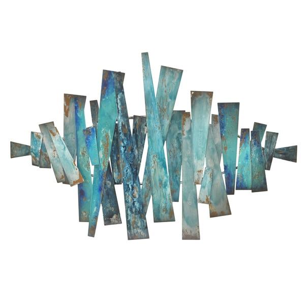 Three Hands Blue Abstract Metal Slats Wall Art