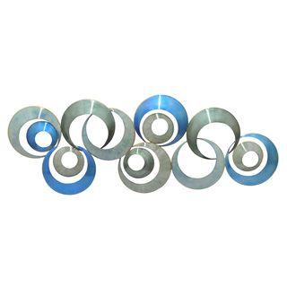 Three Hands Concentric Circle Blue/Grey Metal Wall Art