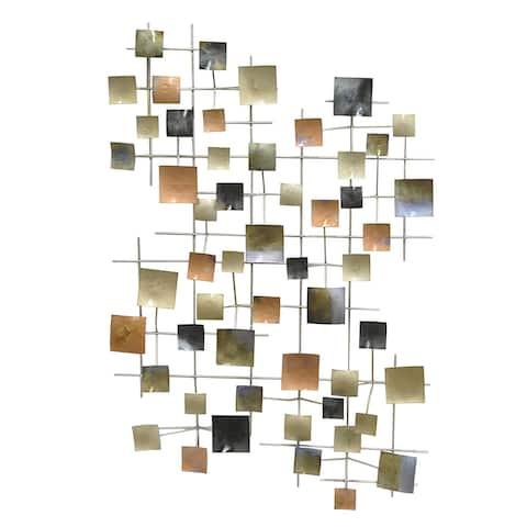 Three Hands Geometric Metal Wall Decoration - Multi Color