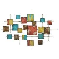 Three Hands Multicolor Geometric Metal Wall Decoration