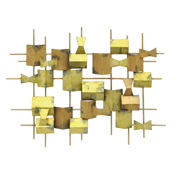 Three Hands Gold-toned Metal Geometric Wall Decoration