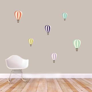 Colorful Hot Air Balloons Printed Wall Decal Set