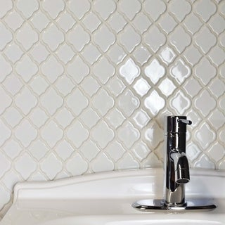 SomerTile 10.5x10.5-inch Marsa Glossy White Ceramic Mosaic Floor and Wall Tile (10/Case, 7.84 sqft.)