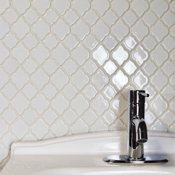 Somertile marsa glossy white ceramic mosaic for 10 inch floor tiles