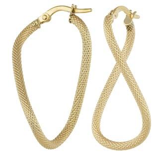 Fremada Italian 14k Yellow Gold Wavy Oval Hoop Earrings