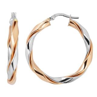 Fremada Italian 14k Two-tone Gold High Polish Twisted Hoop Earrings