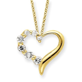 Versil Sterling Silver Vermeil Cubic Zirconia 18-inch Heart Journey Necklace