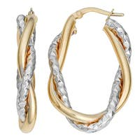 Fremada Italian 14k Two-tone Gold Oval Hoop Earrings, 1.35""