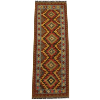 Herat Oriental Afghan Hand-woven Tribal Kilim (2'3 x 6'6)