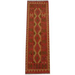 Herat Oriental Afghan Hand-woven Tribal Wool Kilim (2' x 6'4)