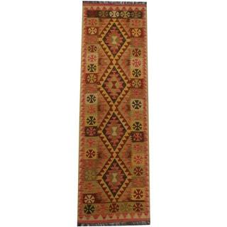 Herat Oriental Afghan Hand-woven Tribal Wool Kilim Runner (2'2 x 7'2)