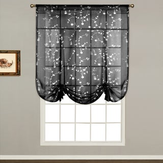 Savannah Linen-look 40-inch x 63-inch Dry Hand Luxury Tie-up Shade Semi-sheer Curtain Topp
