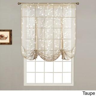 Savannah Linen-look 40-inch x 63-inch Dry Hand Luxury Tie-up Shade Semi-sheer Curtain Topp