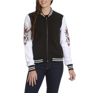 Ashley Women's Black/White Quilted Baseball Jacket