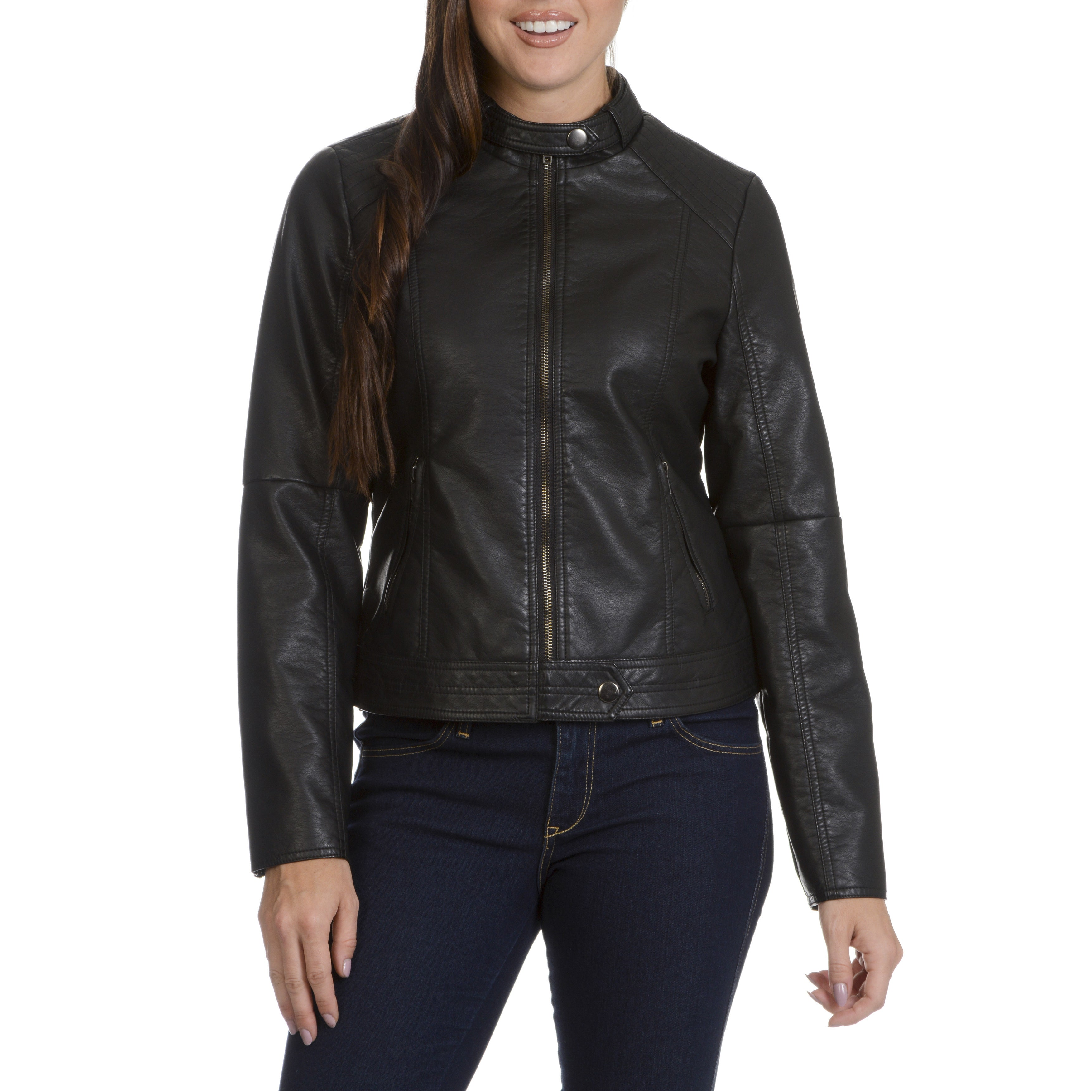 Ashley Women's Moto Faux Leather Racer Jacket (Black-M), ...